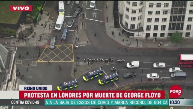 realizan protesta en londres por la muerte de george floyd