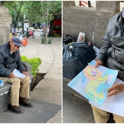 Redes sociales piden ayuda para abuelito que hace dibujos para ganarse la vida