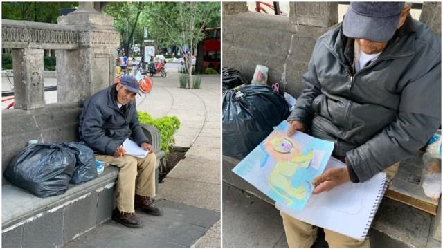 Dibujante anciano en Reforma, redes sociales