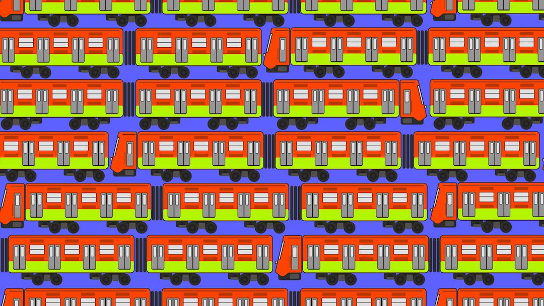 ¿Puedes ver el tren con conductor, dos puertas sin ventana y una llanta ponchada?