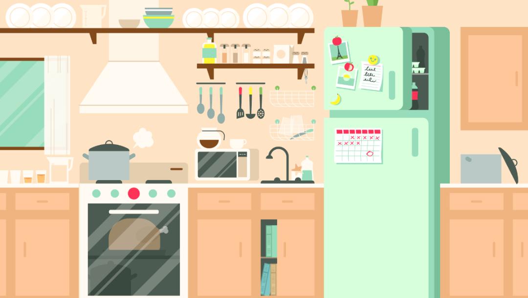 Ilustracion cocina objetos pequeños