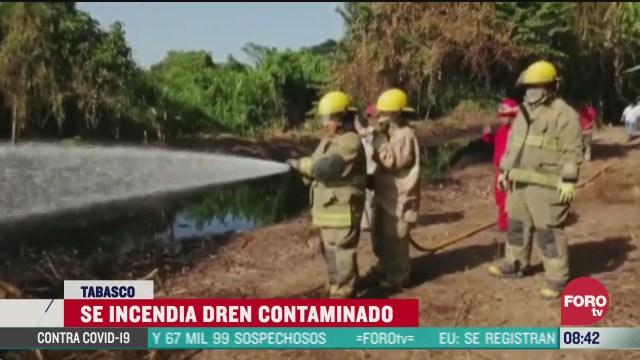 FOTO: 28 de junio 2020,se incendia un dren contaminado con hidrocarburo en tabasco