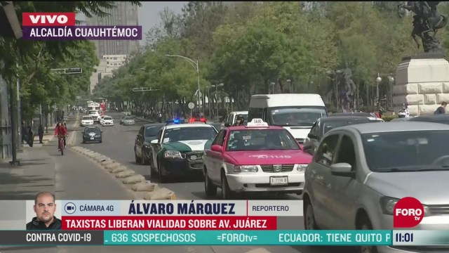 taxistas liberan vialidad sobre avenida juarez en cdmx