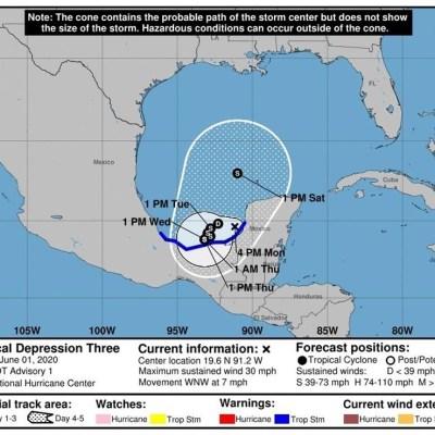 Se forma depresión tropical 'Tres' en Campeche