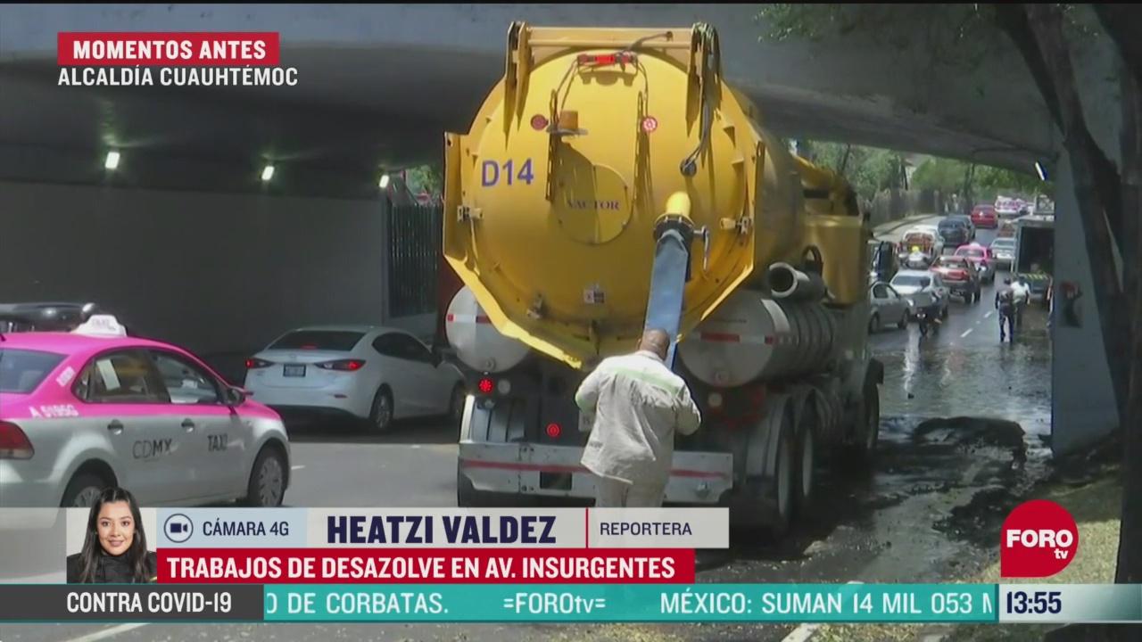 FOTO: trabajos de desazolve en la cdmx luego de fuerte lluvia