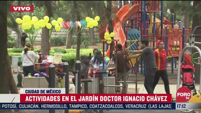 vecinos hacen fiesta en jardin de la colonia doctores