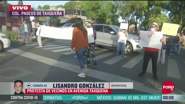 vecinos protestan en avenida taxquena cdmx