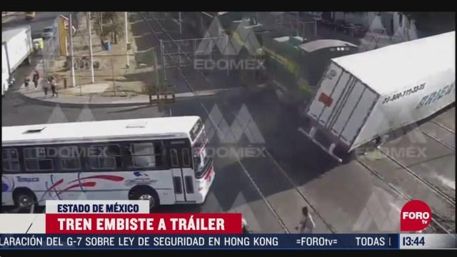 FOTO: video tren embiste trailer en el estado de mexico