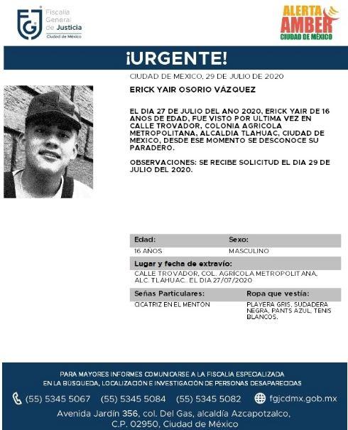 Activan Alerta Amber para localizar a Erick Yair Osorio Vázquez