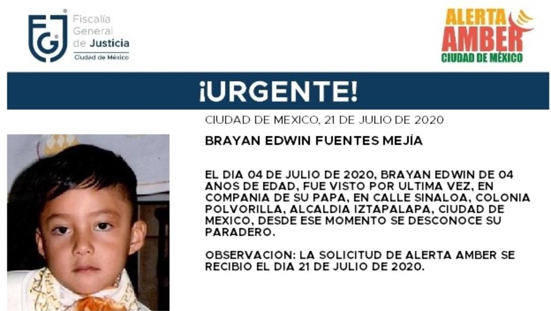 Activan Alerta Amber para localizar a Brayan Edwin Fuentes Mejía