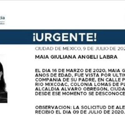 Activan Alerta Amber para localizar a Maia Giuliana Angelí Labra.