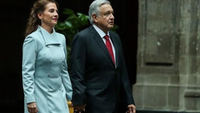 El presidente Andrés Manuel López Obrador y su esposa Beatriz Gutiérrez Müller.