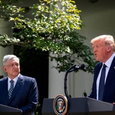 Los presidentes Andrés Manuel López Obrador y Donald Trump esta tarde, en Washington