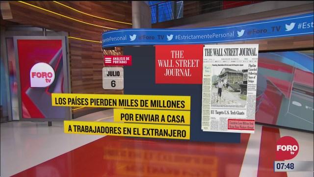 analisis de las portadas nacionales e internacionales del 6 de julio del