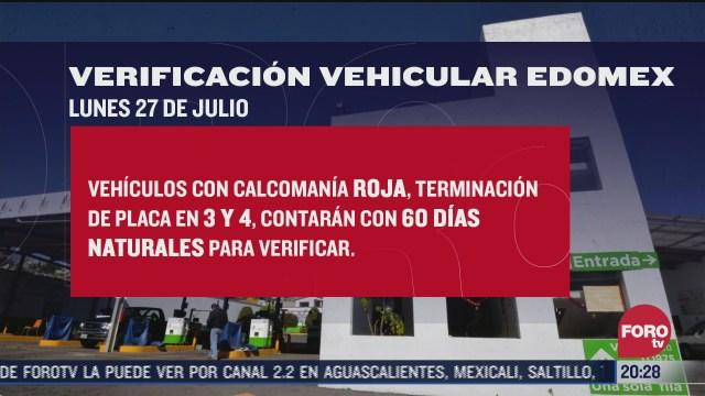 calendario con fechas de verificación vehicular en Edomex 2020