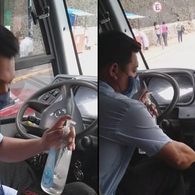 Video: Conductor de transporte público combate al COVID-19 desde su unidad en Milpa Alta
