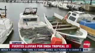 continuan fuertes lluvias por onda tropical 13 en campeche