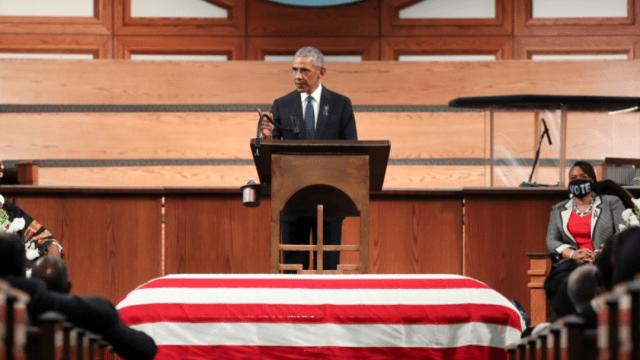 El expresidente Barack Obama en el funeral de John Lewis