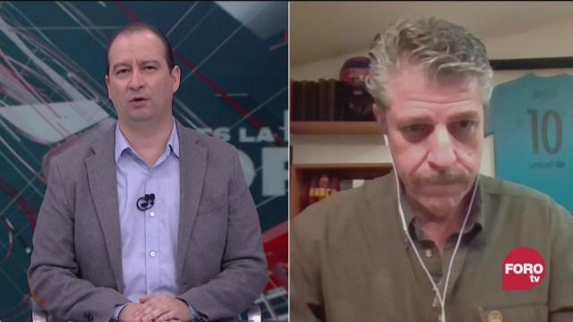 Mario Campos platica con Rafael Gual analizan las compras de medicamentos en el extranjero del gobierno federal