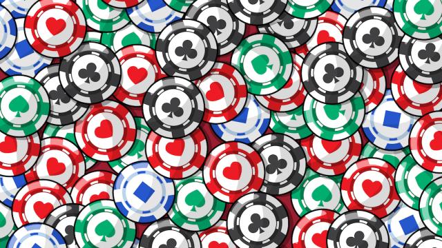 Encuentra los caramelos de menta entre las fichas de póker, ilustración