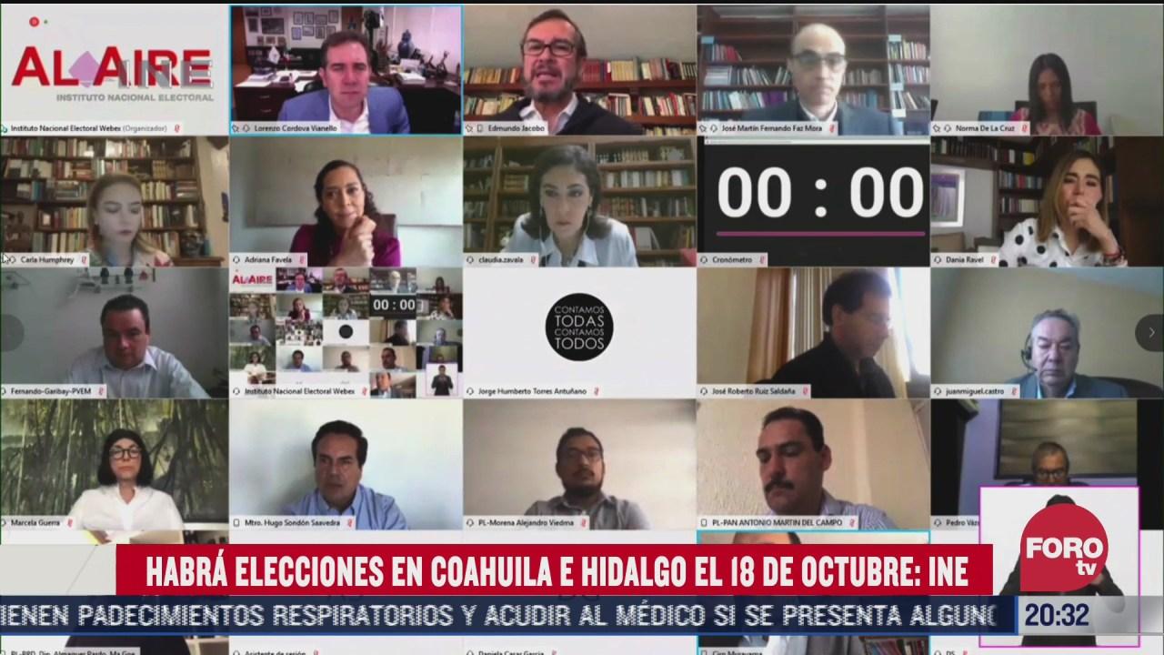 Consejo General del INE aprobó realizar los procesos electorales de Coahuila e Hidalgo el próximo 18 de octubre
