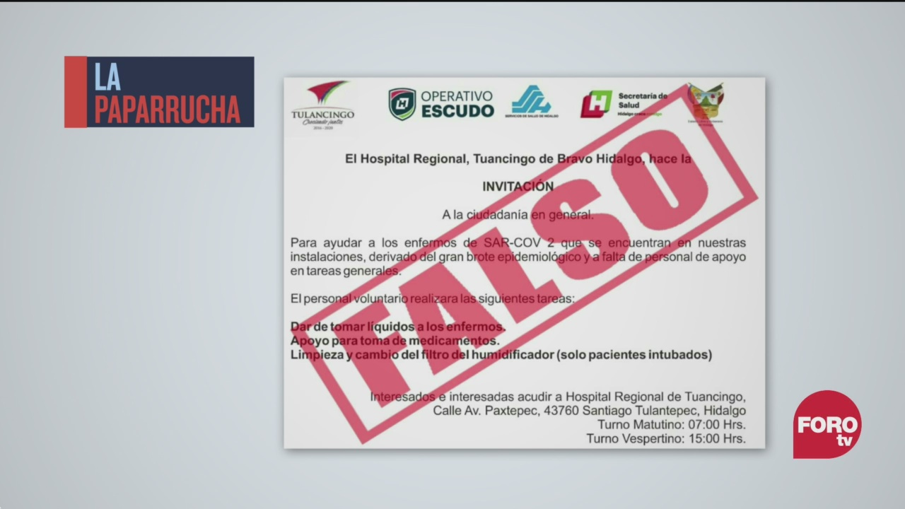 La falsa invitación para apoyar a pacientes COVID en Tulancingo, la paparrucha del día