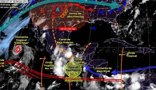 Mapa que muestra los sistemas meteorológicos del sábado 11 de julio.