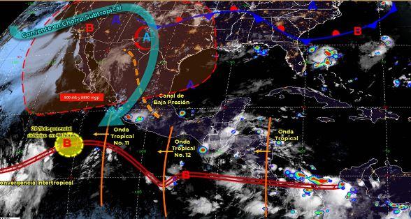 Mapa que muestra los sistemas meteorológicos del domingo 28 de junio