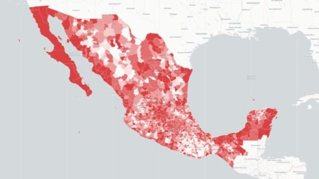 Mapa de coronavirus en México captura de pantalla