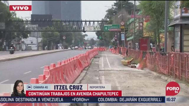 FOTO: 5 de julio 2020, permanecen cerrados carriles laterales de av chapultepec por obras