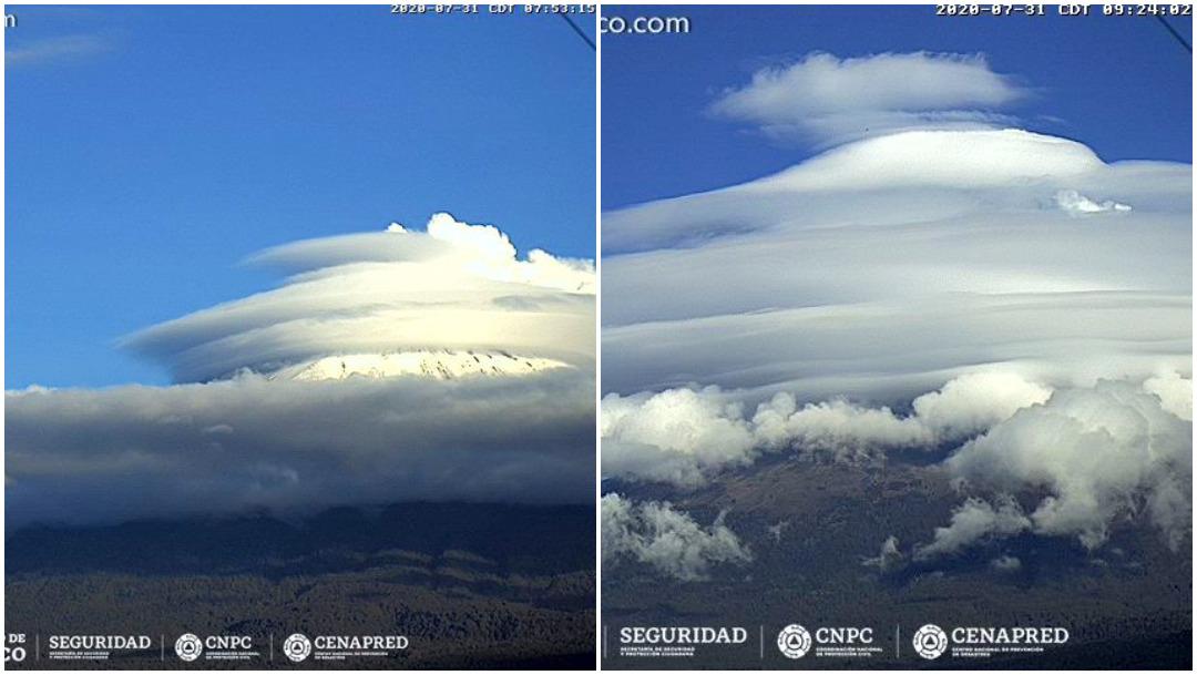 volcán Popocatépetl, nubes lenticulares