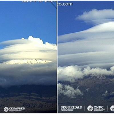 ¿A qué se deben las extrañas nubes con forma de ovni en el Popocatépetl?