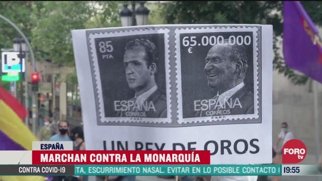 FOTO: 25 de julio 2020, realizan marcha contra la monarquia en espana
