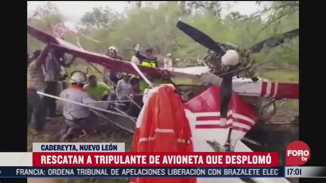 rescatan a tripulante de avioneta que se desplomo en nuevo leon
