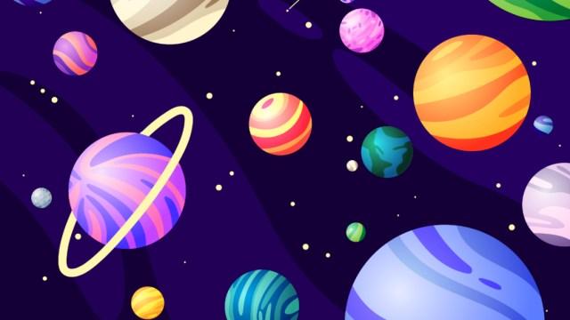 Ilustración de canicas y planetas