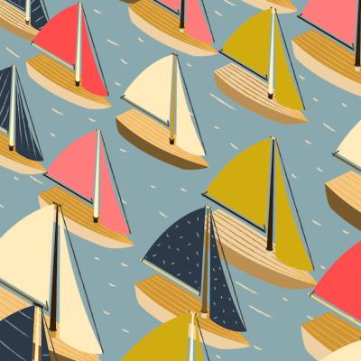 Encuentra los veleros que navegan en sentido contrario