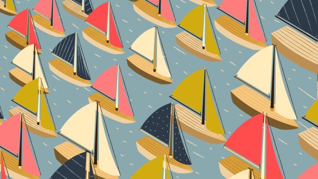 Encuentra los veleros que van en sentido contrario, ilustración