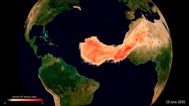 La nube de polvo del Sahara es vigilada por la Agencia Espacial Europea