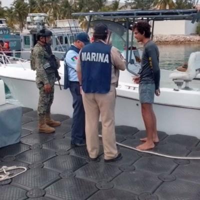 Semar rescata a nueve personas en costas de Quintana Roo