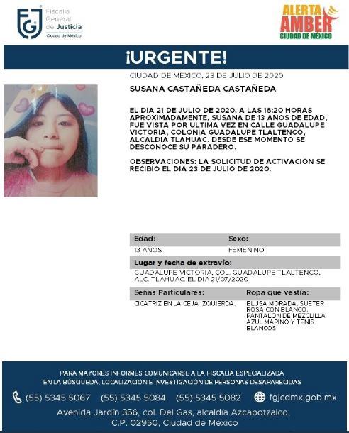 Activan Alerta Amber para localizar a Susana Castañeda Castañeda