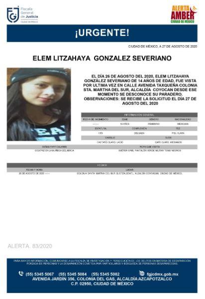 Se activa Alerta Amber para localizar a Elem Litzahaya González Severiano
