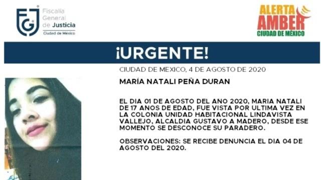 Activan Alerta Amber para localizar a María Natali Peña Durán