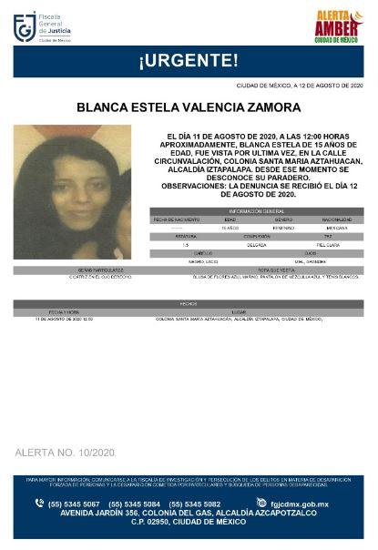 Activan Alerta Amber para localizar a Blanca Estela Valencia Zamora.