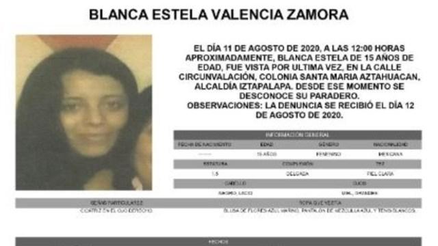 Activan Alerta Amber para localizar a Blanca Estela Valencia Zamora
