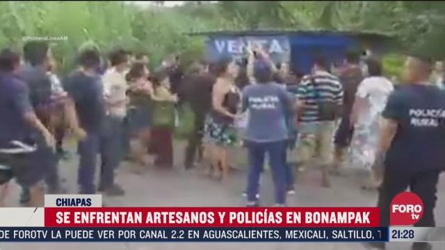 artesanos y policias se enfrentan en bonampak