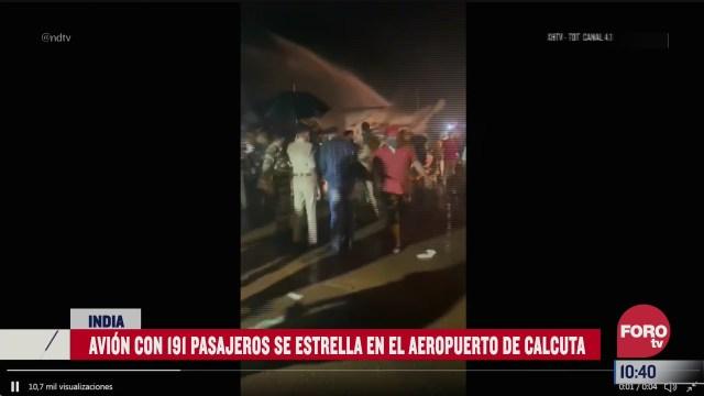 avion con 191 pasajeros se estrella en el aeropuerto de calcuta india
