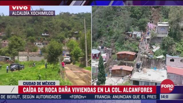 caida de roca dana viviendas en xochimilco cdmx
