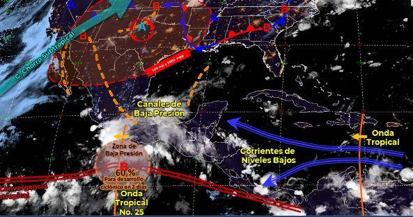 Mapa que muestra los sistemas meteorológicos del sábado 8 de agosto.