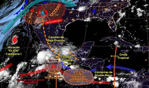Mapa que muestra los sistemas meteorológicos del miércoles 12 de agosto