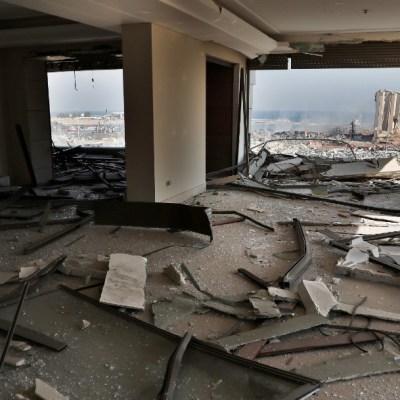 Daños en un departamento de Beirut